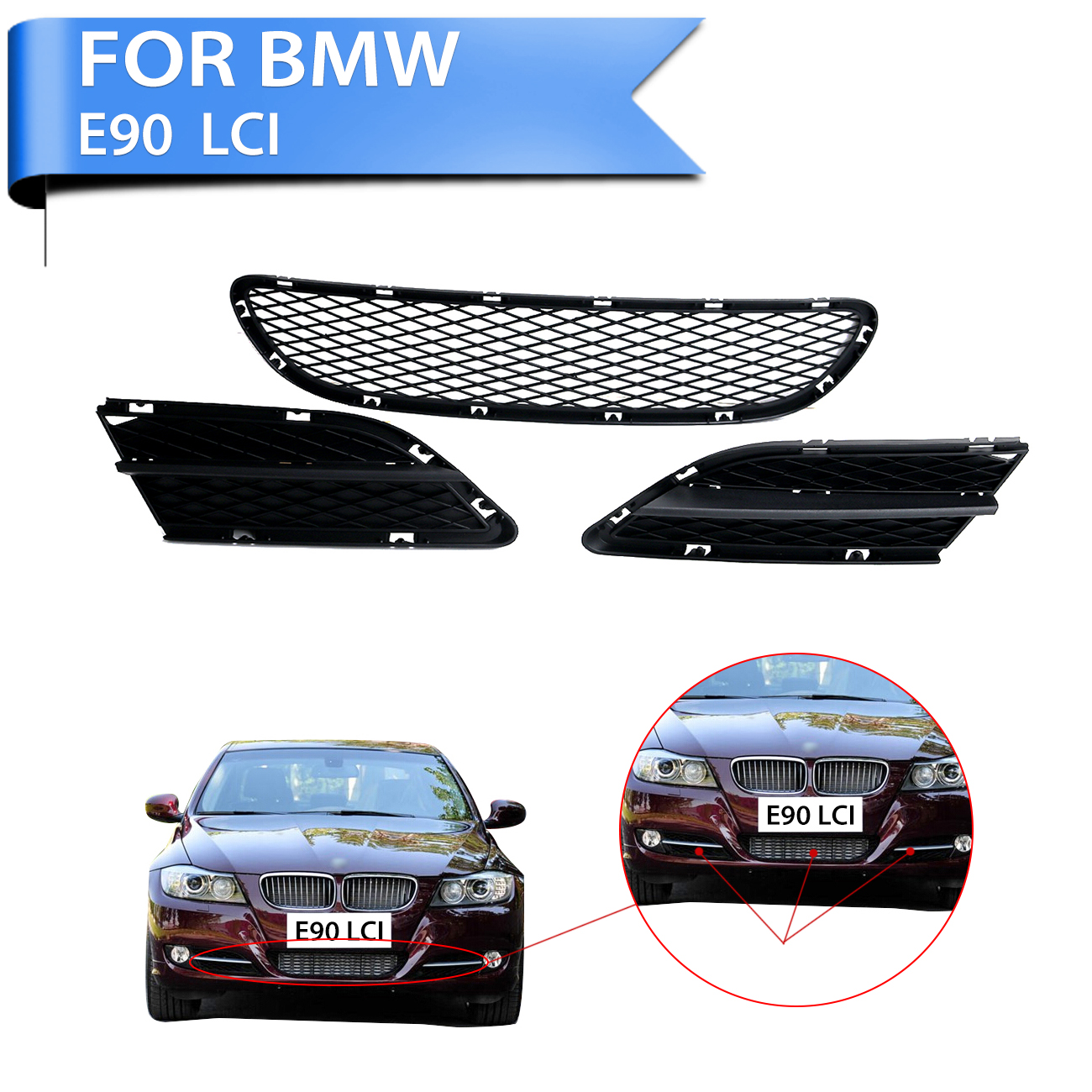 Car Front Bumper Lower Grille Grills Grid Decorate Trim Set For BMW 3-Series 325 328 335 E90 LCI 2009 2010 2011 #W141 abs chrome front grille around trim for ford s max smax 2007 2010 2011 2012