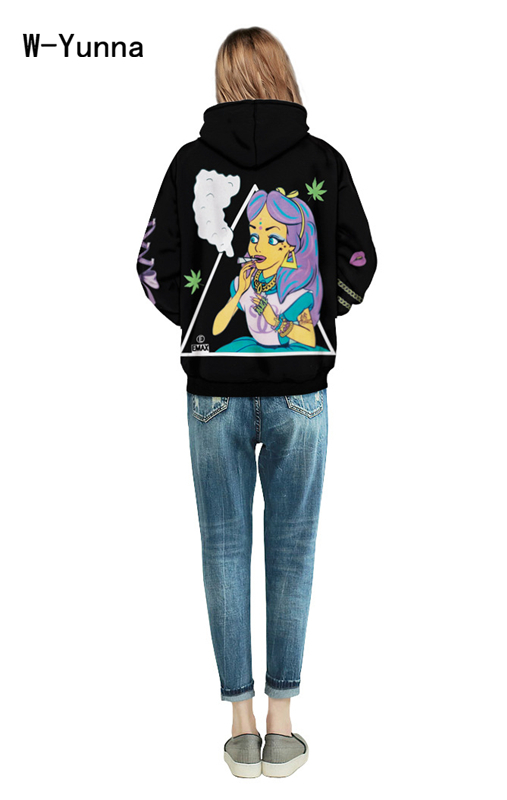 Harajuku Punk Black Sweatshits for Women/Men Letter Beauty Girl Print Hooded Hoodies with Pockets Plus Size Sudaderas Mujer 2016