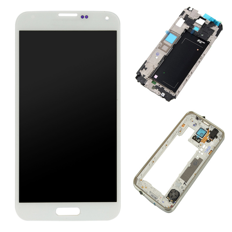 For Samsung Galaxy S5 G900F A P T V Touch Screen Digitizer LCD Display Assembly Frame