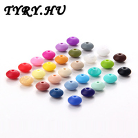 TYRY.HU 12mm Silicone Lensile Beads For Teething Necklace Silicone Teether Saucer BPA FREE Lentil Loose Beads DIY Jewelry Making
