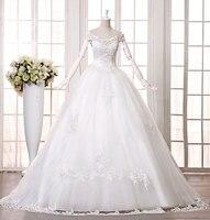 2014 New Bride Wedding Dress Autumn And Winter Dress Slit Neckline White Long Trailing Free Shipping