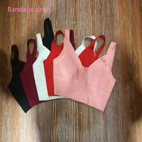 2016 Ladies Rayon Knitted Stretch V Neck Strap Cute Sexy Bandage Bustier Crop Tops AA 159