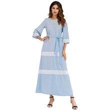 Fashion Womens Muslim Summer Temperament Slim  Sleeve Abaya Lace Stitching Belt Dress