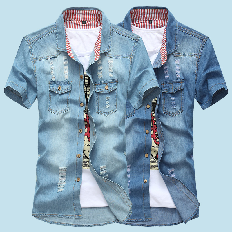 2019 Summer Washing Charm Jeans Shirts Short Sleeve Men's Shirt ,Denim Wear White Men's Jacket Cowboy Wear Free Shipping