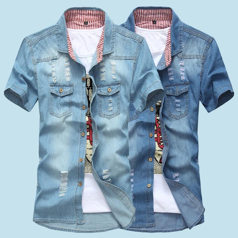 2019 Summer Washing Charm Jeans Shirts Short Sleeve Men's Shirt ,Denim Wear White Men's Jacket Cowboy Wear Free Shipping