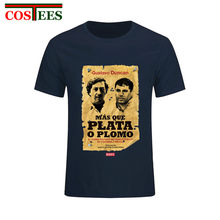 New Vintage Old Poster design Gustavo Duncan Mas Que Plata O Plomo T shirts camiseta Retro Pablo Silver or Lead Escobar T-Shirts(China)
