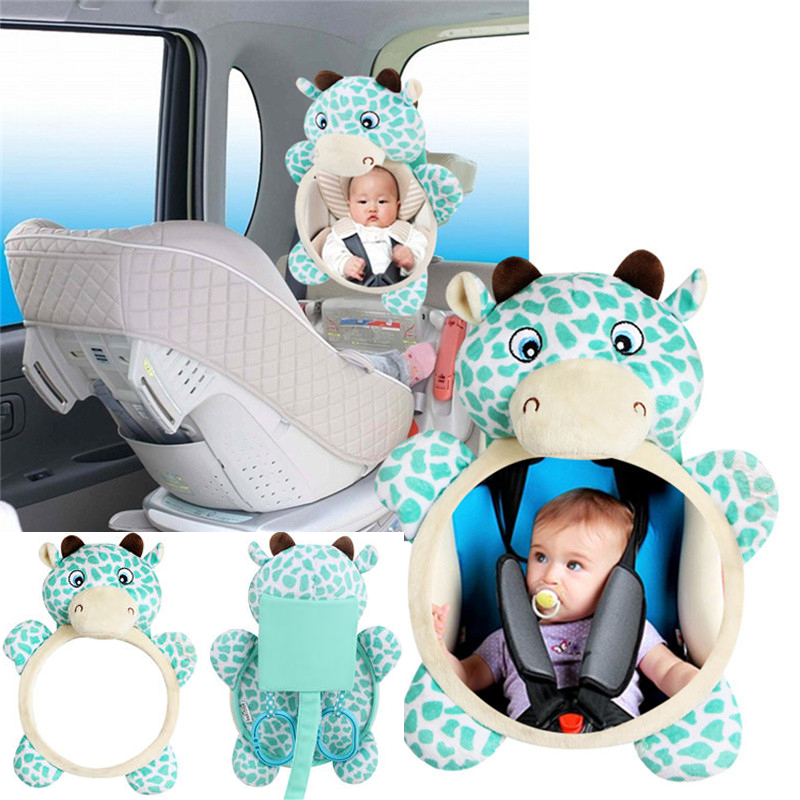 Baby Car Seat Stuffed Plush Toys Animal Mirror Rearview Toddler Mobile Rattle Infant Hanging Backseat Toy Newborn 0~12 Months
