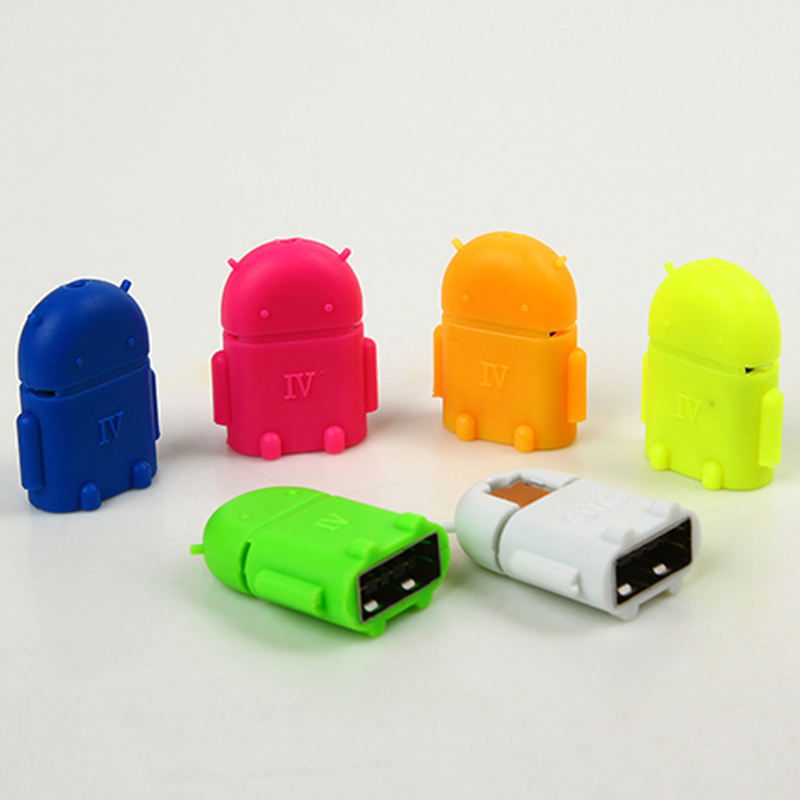 10 Pcs New Fashion Andrews Robot Micro USB To USB OTG Adapter For All Android Tablet Pc To Flash Mouse Keyboard