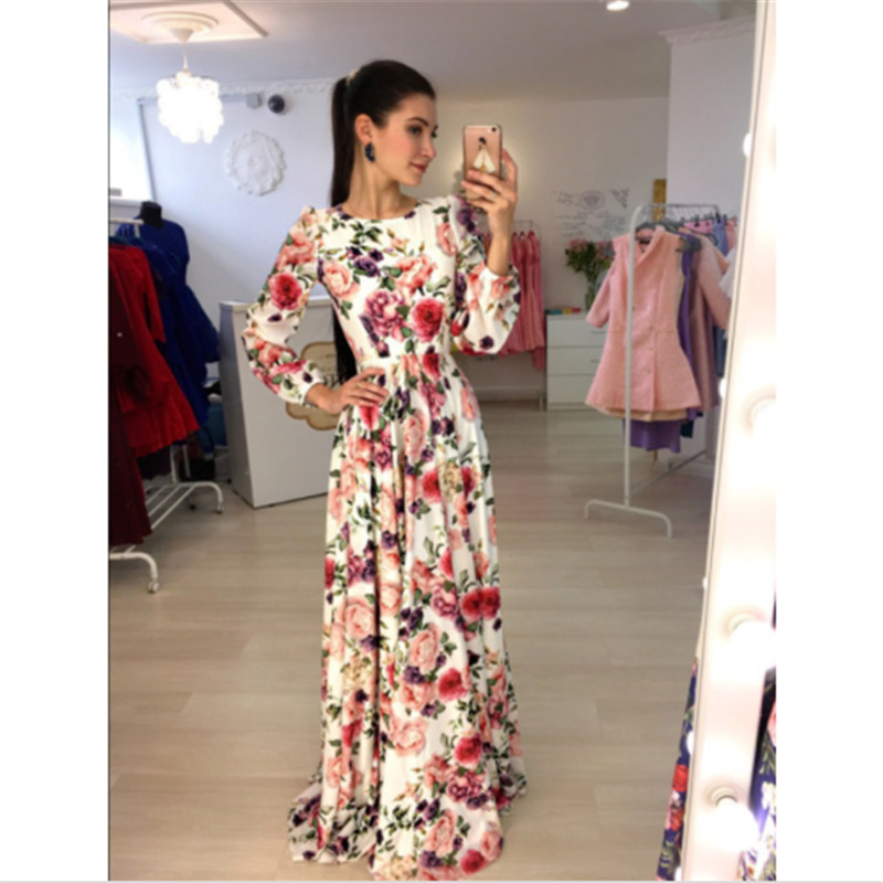 New Arrival Women Maxi Dresses Round Neck Long Sleeve Womens Fashion Floral Long Party D ...