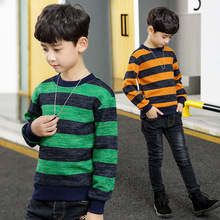 Autumn Winter New Kids Sweaters 2018 Baby Boys Sweater Striped Thick Warm Sweater for Boys Teenager 5 6 7 8 9 10 11 12 13 14year children autumn and winter warm clothes kids boys and girls thick sweaters fleece turtle neck baby girl sweater 1 5 years