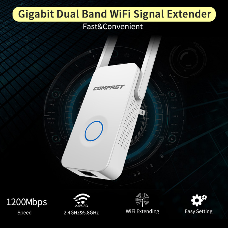 COMFAST 1200Mbps Wifi Repeater AP Wifi Router 5.8G + 2.4G Dual Band Access Point Mini Homeplug EU US Plug CF-WR752AC P15 comfast 750mbps high power router 11ac wifi access point 6 6dbi antenna 600 square meters coverage wireless router cf wr635ac