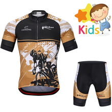 цена на 2018 Summer Children's Cycling Jersey Set Gel Pad Breathable Kids Cycling Clothing Set Ropa Ciclismo Bicycle Short  Jersey Suit
