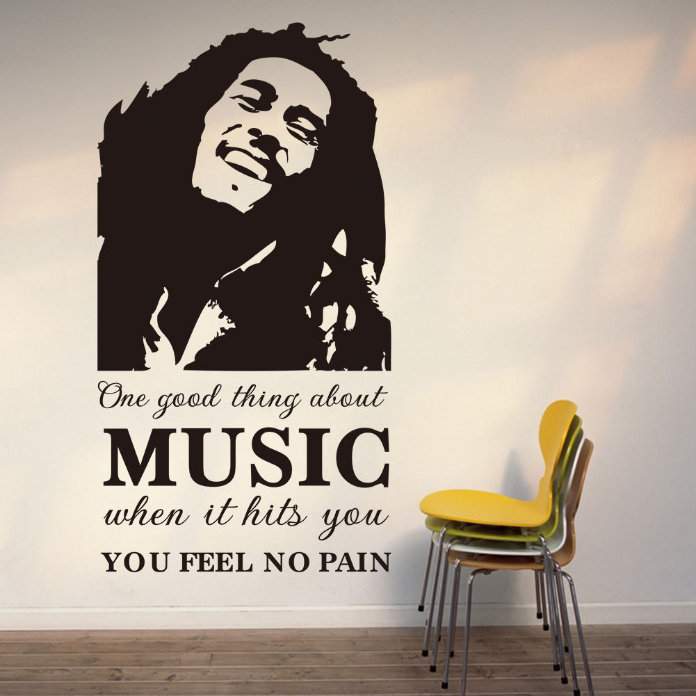 ộ_ộ ༽D343 Bob Marley Music Wall Sticker Decal Phrase Art Mural ...