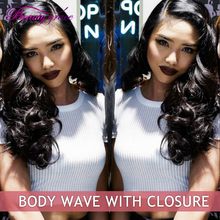 Stema Hair Brazilian Body Wave With Lace Closure 7A Peerless Virgin Hair Brazillian Virgin Hair Body Wave 3 Bundles With Closure