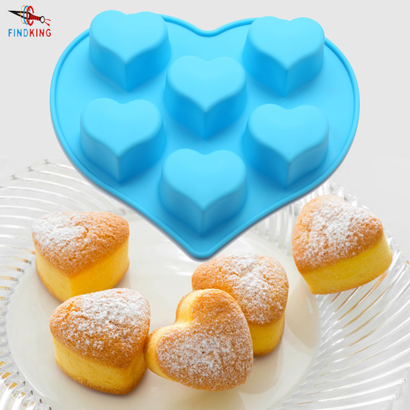 FINDKING DlY 9 inch 25*20.5*4cm 125g 3D heart Shape Silicone Cake Mold Baking Tools Bakeware Maker Mold(China)