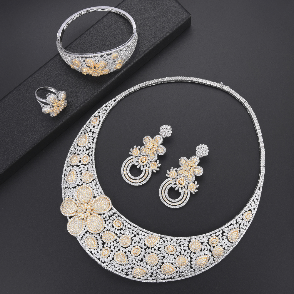 Luxury Flower turkish jewelry Dubai Indian Necklace earings fashion jewelry Bangle Ring african beads jewelry set for women