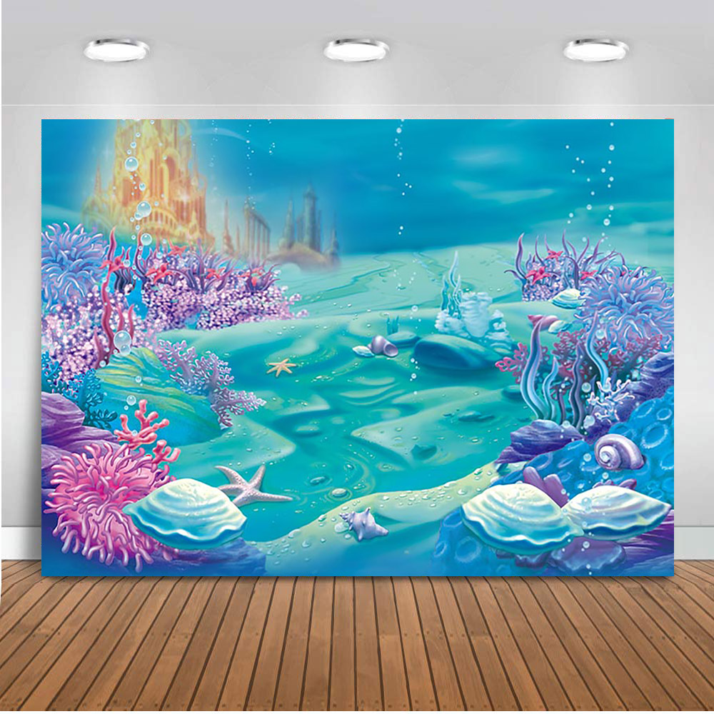 MEHOFOTO 7x5ft Photography Under Sea Castle Backdrop Ocean Bubble Birthday Party Photo Studio Booth Background Newborn