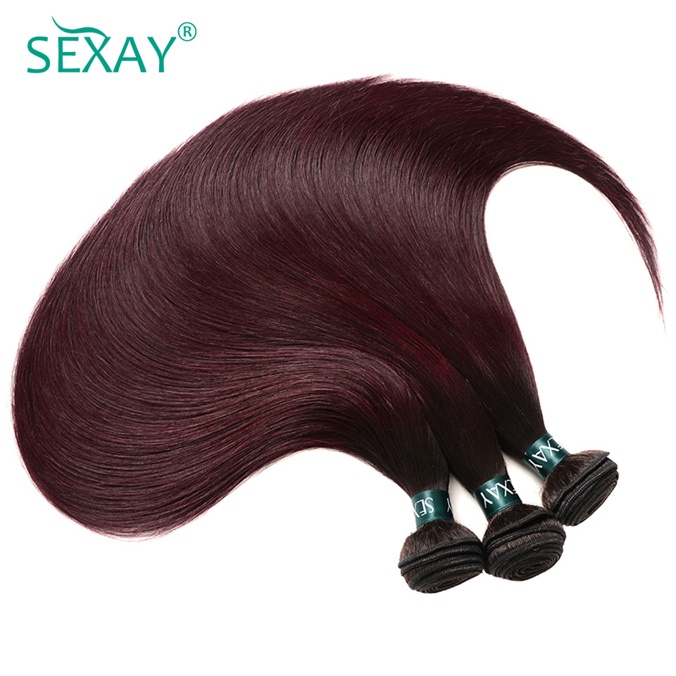 Sexay Ombre Brazilian Straight Hair 4 Bundles Dark Roots 1B/99J Pre-Colored Wine Red Straight Brazilian Human Hair Weave Bundles