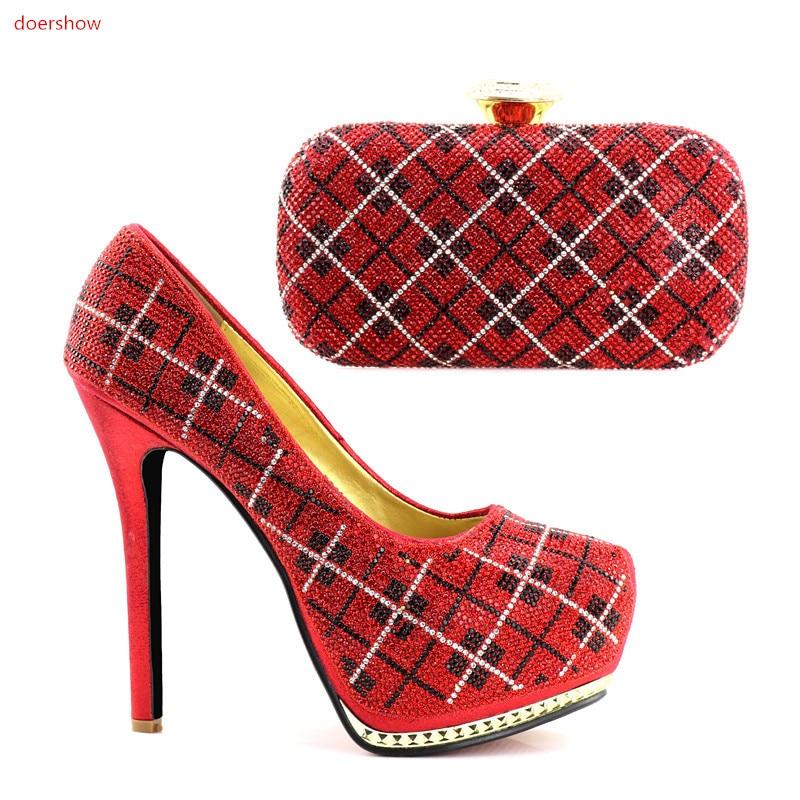 Doershow 1 Decorado Set Jjc1 Mujeres Africanas Italiano Para Zapatos  Conjunto Bolsa Con Nuevo Rhinestone Bolsas Y fCfRH ea7033c50ff7