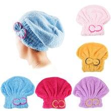 Microfiber Shower Caps Bath Cap Turban Solid Quickly Dry Hair