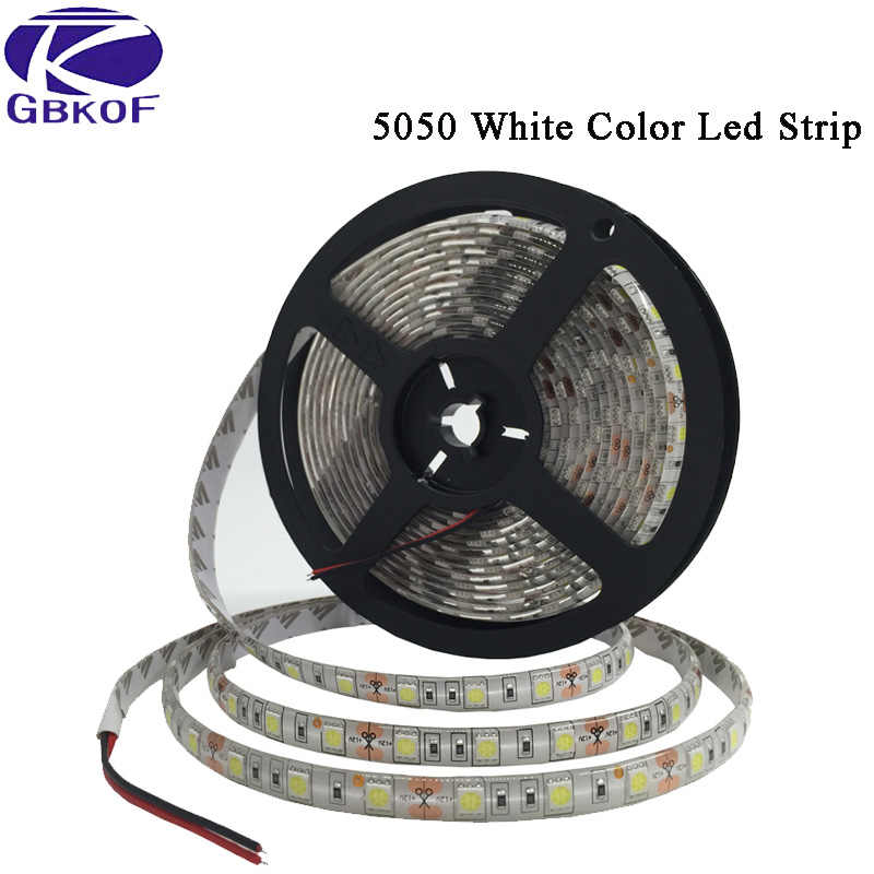 DC 12V 5M RGB LED Strip Tahan Air 5050 3528 60LED/M Fleksibel 12 Volt Lampu LED Stripe putih Hangat Putih Garis Depan Biru Bande LED