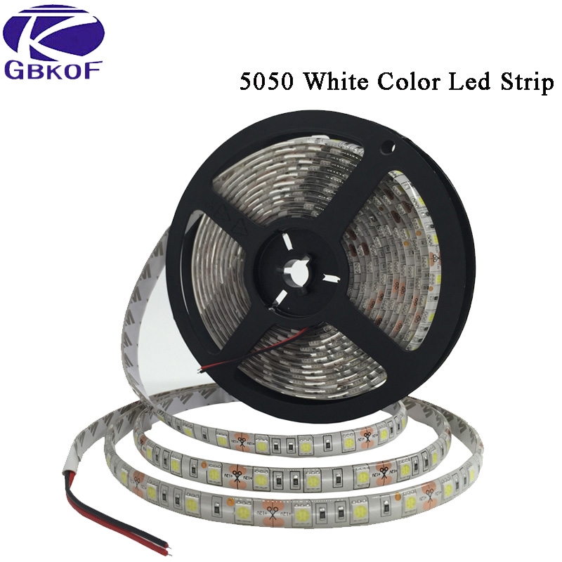 DC 12V 5M RGB LED tira impermeable 5050 3528 60LED/M Flexible 12 voltios LED franja blanca cálida blanca ledstrip bande led azul