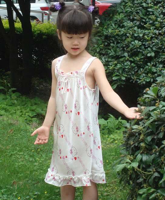 High-quality 2017 fashion Girls child dress100% mulberry silk sling nightdress pajamas girls tracksuit real pure silk tracksuit tracksuit