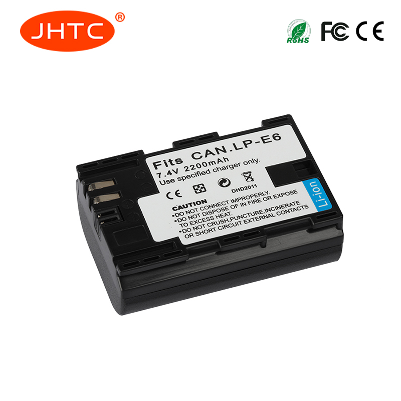 JHTC 1pc 2200mAh LP-E6 LP E6 LP-E6N Camera Battery For Canon EOS 5DS 5D Mark II Mark III 6D 7D 60D 60Da 70D 80D DSLR EOS 5DSR