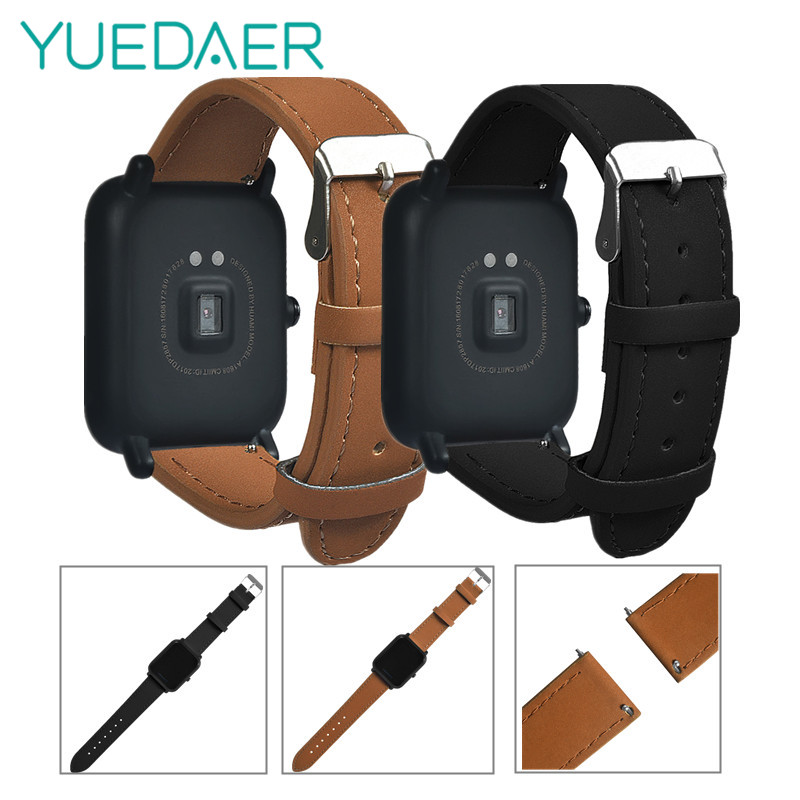 YUEDAER Genuine Leather Strap For Xiaomi Huami Amazfit Bip strap bracelet Youth Smart Watch wristwatch band smart accessories