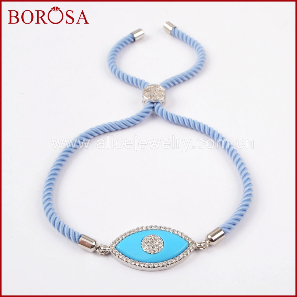 BOROSA CZ Micro Pave Marquise Shape Blue Evil Eye Connector Bracelet,10'' Adjustable Rope Chain Charm Bracelet Jewelry WX589