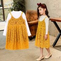 2017 Korean Girls Knit Dress Two Piece Suit Children Kids Sets Clothing Set Retail Dress Two