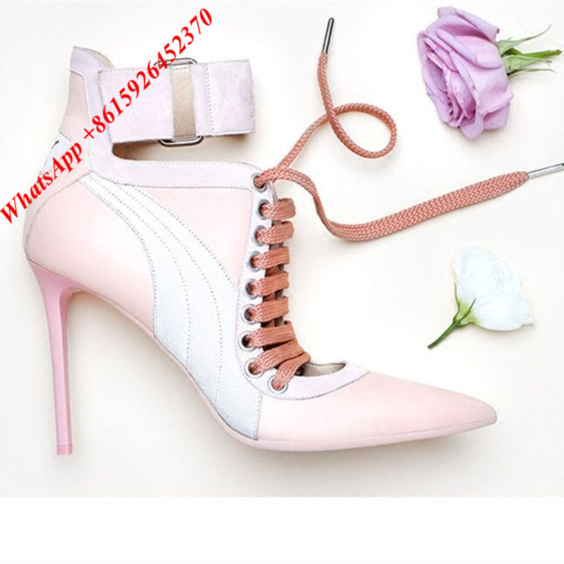 96d6b81e795 Light Pink Lace Up Booties Pointed Toe Ankle Cuff Boots Real Leather ...