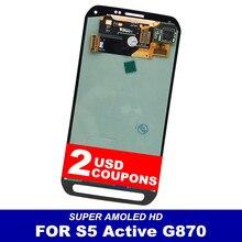 3649d20596f 100% prueba de Super AMOLED LCD para la galaxia S5 activo G870 LCDs  pantalla táctil reemplazo de la Asamblea del digitizador