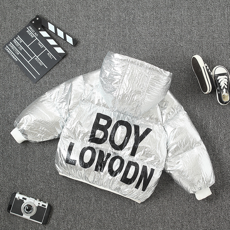 2018 New Children Winter Silver Down Jacket Boys Girls Space Coats Kids Autumn Warm Overcoat Baby Outwear Cotton Clothes Jackets kids winter jackets 2017 new turn down solid children jacket thicken warm winter boys coats pu leather kids outwear 3 12t