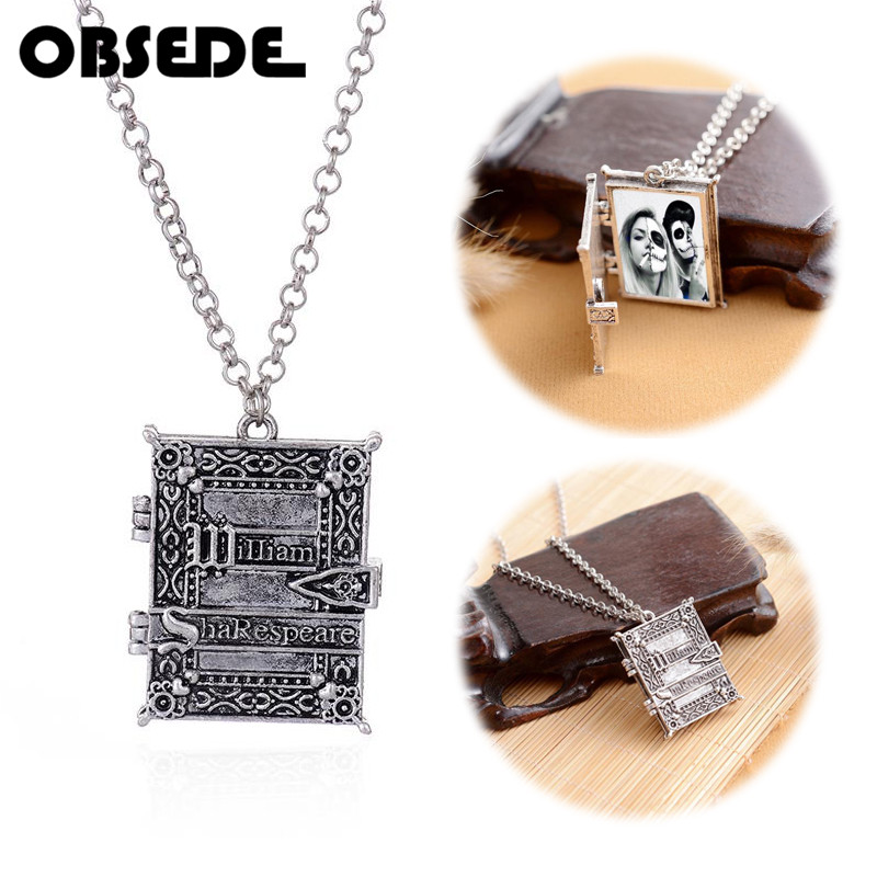OBSEDE Gothic Style Openable Box Pendant Photo Frame Album Locket Charm Necklace Book Design Pendants Vintage Jewelry for Women locket