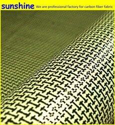 185gsm الكربون الأراميد الألياف الهجين النسيج عادي المنسوجة أنا على شكل مربع النسيج الأصفر