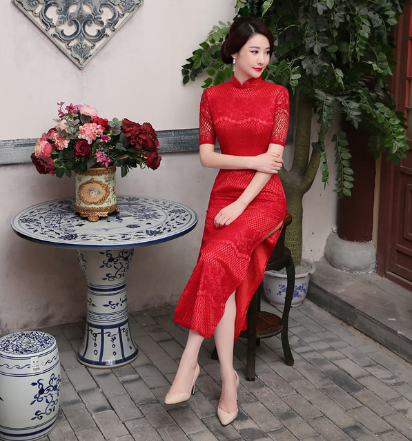 New Cheongsam Dress Long Red Lace Evening Dresses Vestidos Vintage Elegant Lady Chinese Cheongsam Sexy Wedding Dress