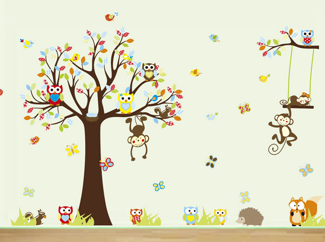 Cute Cartoon Baby Room Wall Decals Animal Kids Bedroom Wall Stickers Monkey  Hedgehog Fox Owl Birds