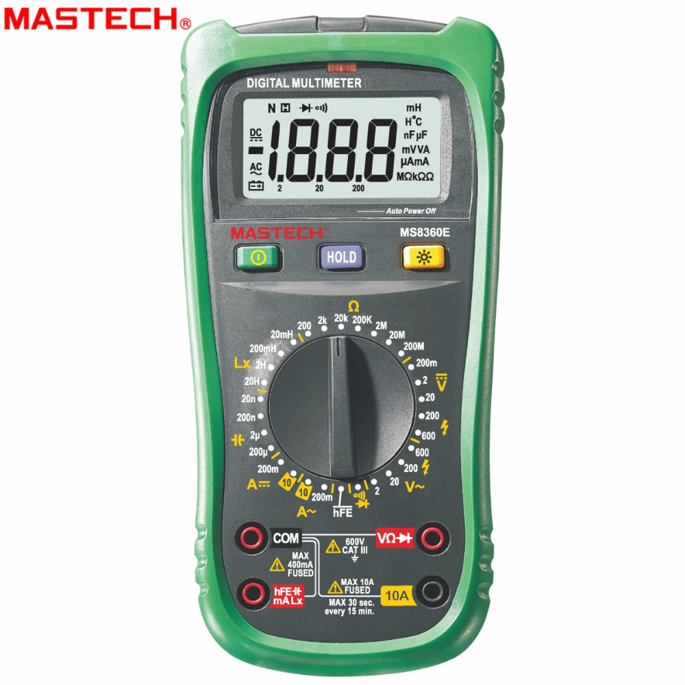 MASTECH MS8360E Digital Multimeter DMM Inductance Capacitor hFE tester comprobadores multimetros (upgraded MS8260E) 1 pcs mastech ms8269 digital auto ranging multimeter dmm test capacitance frequency worldwide store