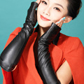 Women 2016 winter dress gift party model show fashion genuine leather sheepskin super long design mittens gift  half palm gloves