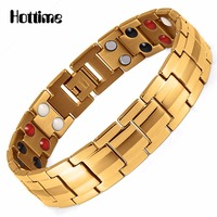 Hottime Fashion Jewelry Health FIR Magnetic Titanium Steel Bio Energy Bracelet For Men Blood Pressure Accessory