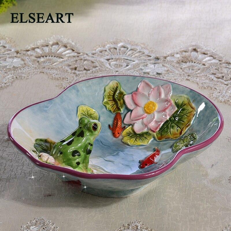 Fairy art-plat de conservation des bonbons | Céramique grenouille lotus, fruits secs, plat Dessert, assiette à salade, décor maison, décoration de mariage