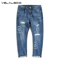 VELALISCIO Oversize Code Super Elastic Jeans Male Slim Pants Navy Blue Tide Men Pants Fashion Casual
