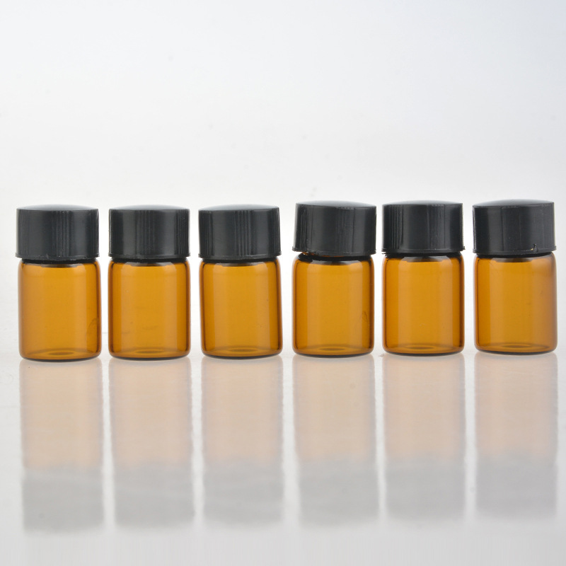 2ml mini amber empty glass cosmetic containers portable travel rofillable roll-oil bottles empty as gift