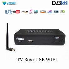 Vmade 完全 HD デジタル DVB S2 衛星テレビ受信機チューナーサポート CCCAM YouTube H. MPEG 4 DVB S2 セットトップボックス + USB 無線 LAN 7601