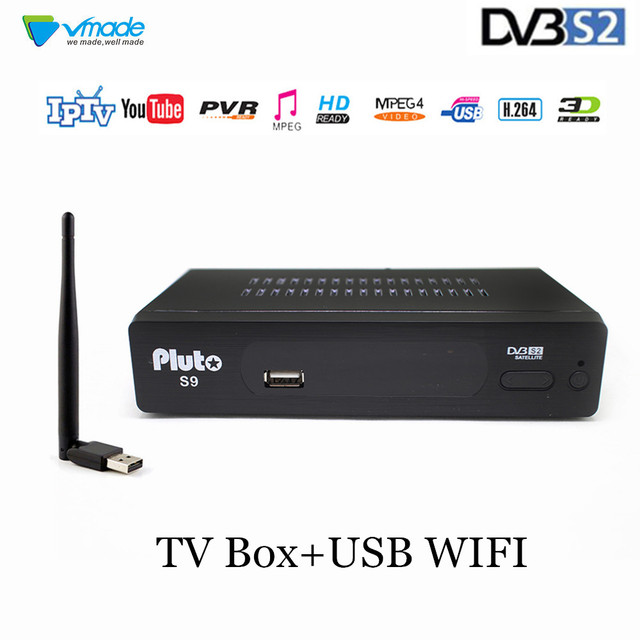 Vmade 완전 hd 디지털 dvb s2 위성 tv 수신기 튜너 지원 cccam youtube h.264 MPEG 4 dvb s2 셋톱 박스 + usb wifi 7601