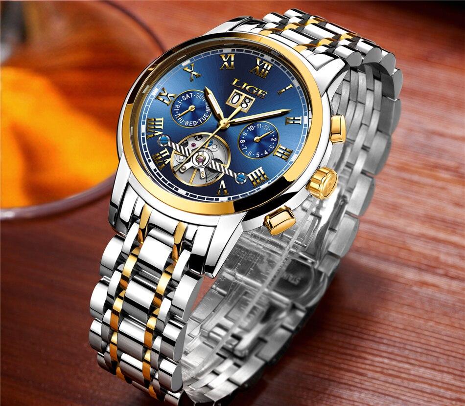 HTB1zTNBqk9WBuNjSspeq6yz5VXae LIGE Mens Watches Top Luxury Brand Automatic Mechanical Watch Men Full Steel Business Waterproof Sport Watches Relogio Masculino