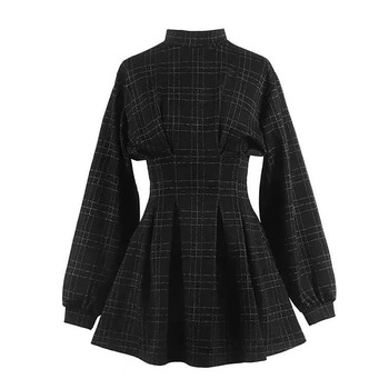 2019 Spring Women Vintage Mini Dress Long Sleeve Plaid A-lined Punk Style Gothic Dresses for Goth Girls Female Retro High Waist