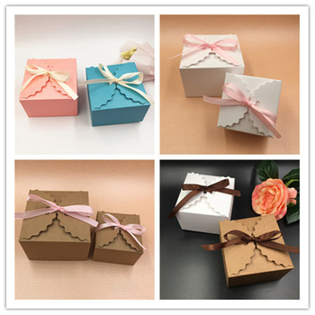 200Pcs/Lot 9x9x6cm Paper Square Wedding Card Box Tassel Beads Ribbons Strings For Handmade Soap Chocolates Biscuits Candy Gifts