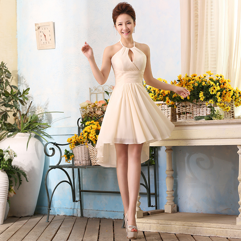 Simple Short Wedding Dresses in Champagne